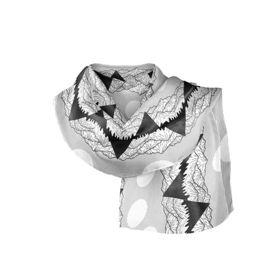Banana Bandanas Big Pointy Rocks overripe bandana mountain range hiking bandana illustration black and white folded photo