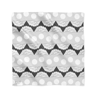 Banana Bandanas Big Pointy Rocks overripe bandana mountain range hiking bandana illustration black and white flat photo