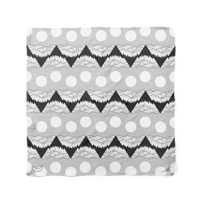 Banana Bandanas Big Pointy Rocks dog bandana mountain range hiking bandana illustration black and white flat photo