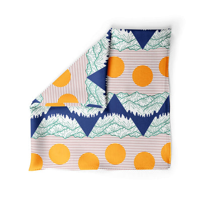 Banana Bandanas Big Pointy Rocks dog bandana mountain range hiking bandana illustration sunset alternative photo