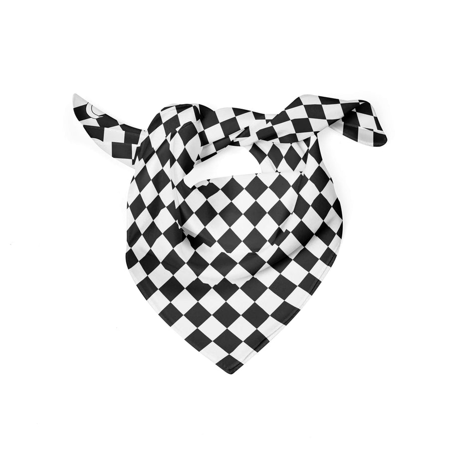 Banana Bandanas Checkmate dog bandana gingham checkerboard spread flat photo