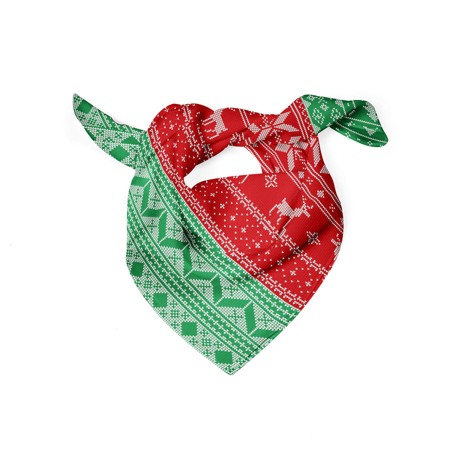 Banana Bandanas Christmas Sweater dog bandana ugly christmas sweater dog bandana green and red dog bandana flat photo