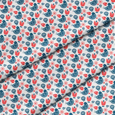 Banana Bandanas Ducks in a Row bandana blue red duck pattern bandana Norwegian spread detail photo