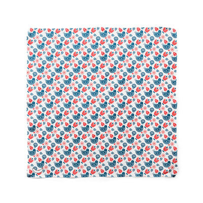Banana Bandanas Ducks in a Row dog bandana blue red duck pattern dog bandana Norwegian spread flat photo