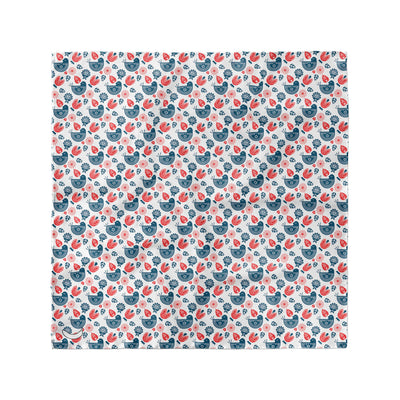 Banana Bandanas Ducks in a Row overripe dog bandana blue red duck pattern silk dog bandana Norwegian spread flat photo