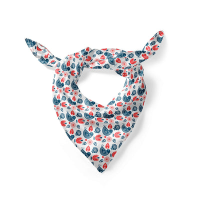 Banana Bandanas Ducks in a Row overripe dog bandana blue red duck pattern silk dog bandana Norwegian spread folded photo