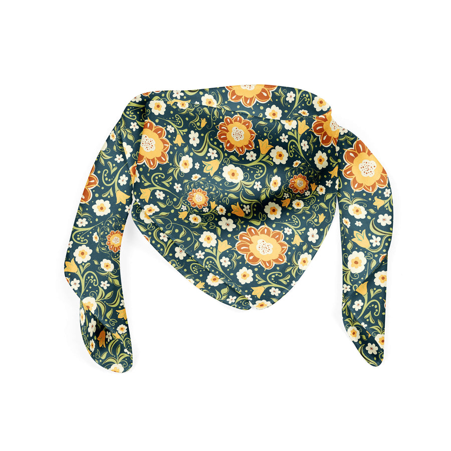 Banana Bandanas Flower Power bandana green and yellow floral pattern bandana flat photo