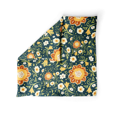 Banana Bandanas Flower Power dog bandana green and yellow floral pattern dog bandana alternative photo