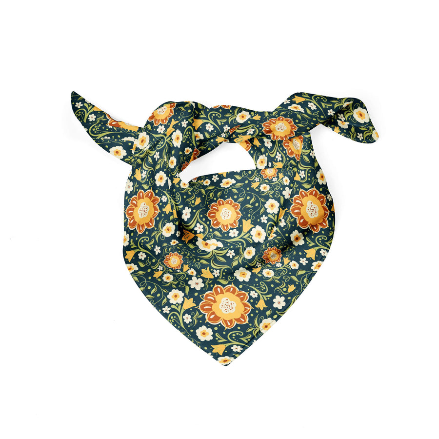 Banana Bandanas Flower Power dog bandana green and yellow floral pattern dog bandana flat photo