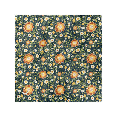 Banana Bandanas Flower Power overripe dog bandana green and yellow floral pattern overripe dog bandana flat photo
