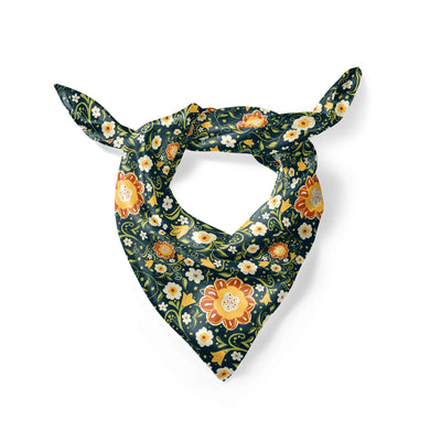 Banana Bandanas Flower Power overripe dog bandana green and yellow floral pattern overripe dog bandana folded photo