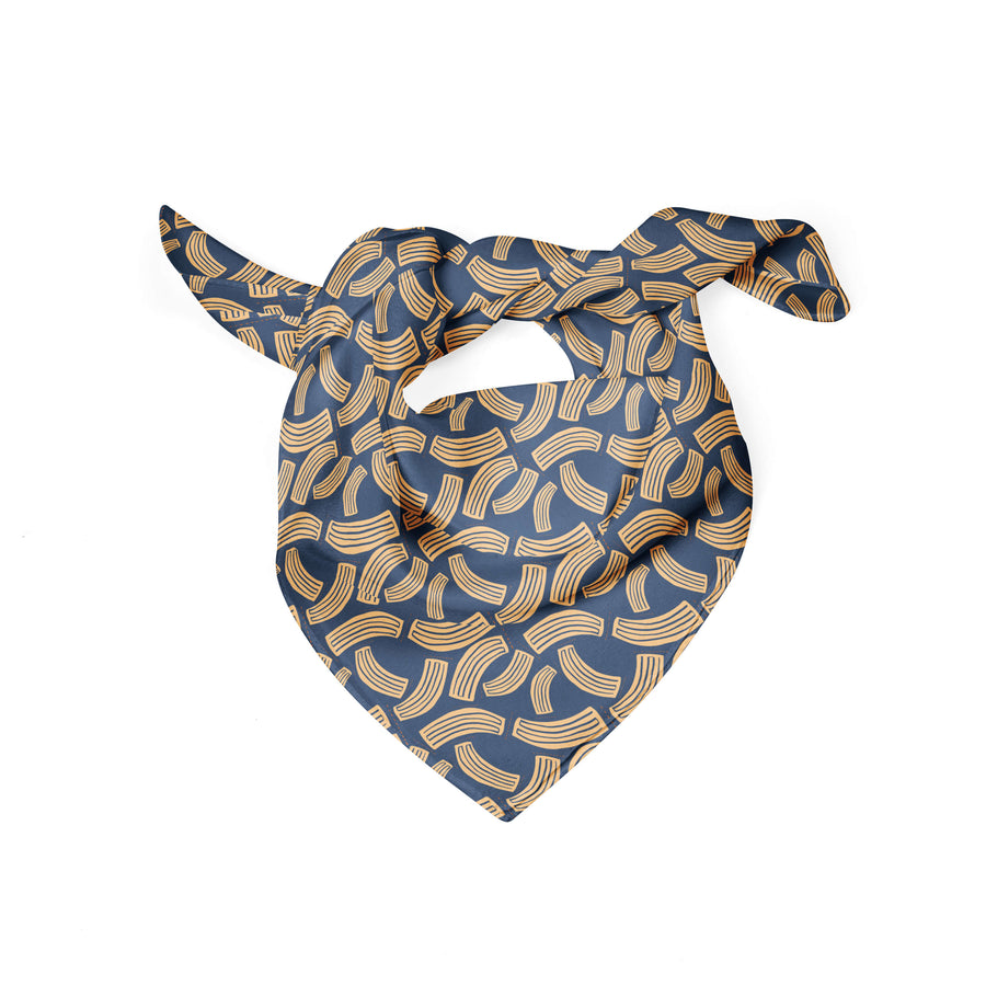 Banana Bandanas Macaroni Salad dog bandana blue and yellow noodle dog bandana flat photo