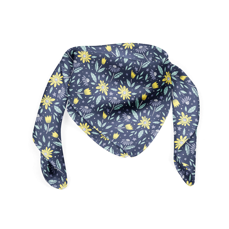 Banana Bandanas Moonflower bandana space floral blue bandana flat photo