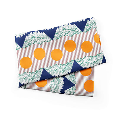 Banana Bandanas Big Pointy Rocks bandana mountain range hiking bandana illustration sunset alternative photo