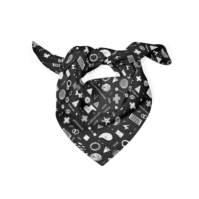 Banana Bandanas Play Time dog bandana hand drawn shape illustrations dog bandana chalkboard folded photo