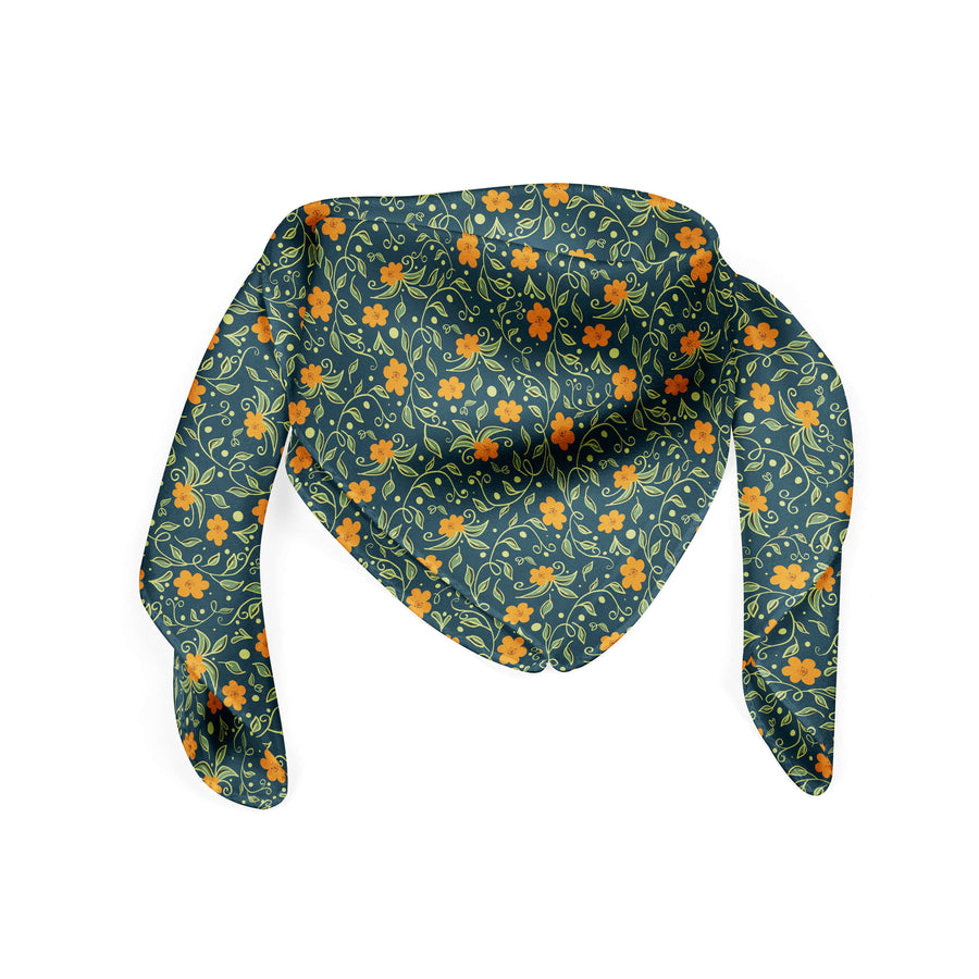 Banana Bandanas Secret Garden bandana green and orange floral illustration bandana flat photo