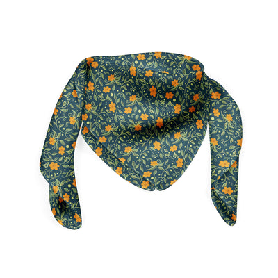 Banana Bandanas Secret Garden bandana green and orange floral illustration bandana folded photo
