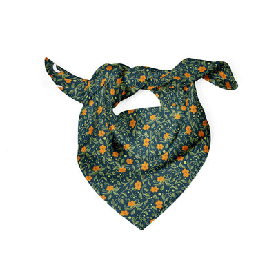 Banana Bandanas Secret Garden dog bandana green and orange floral illustration dog bandana folded photo