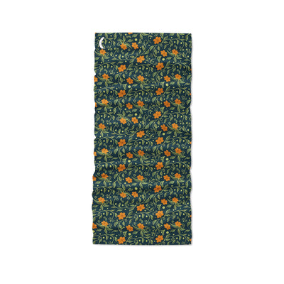 Banana Bandanas Secret Garden headband green and orange floral illustration headband flat photo