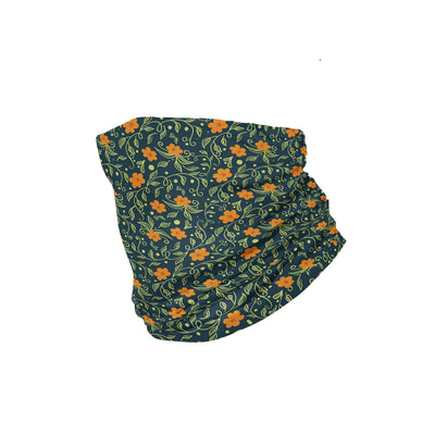 Banana Bandanas Secret Garden headband green and orange floral illustration headband folded photo