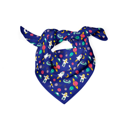 Banana Bandanas Space Explorer dog bandana space illustration blue folded photo