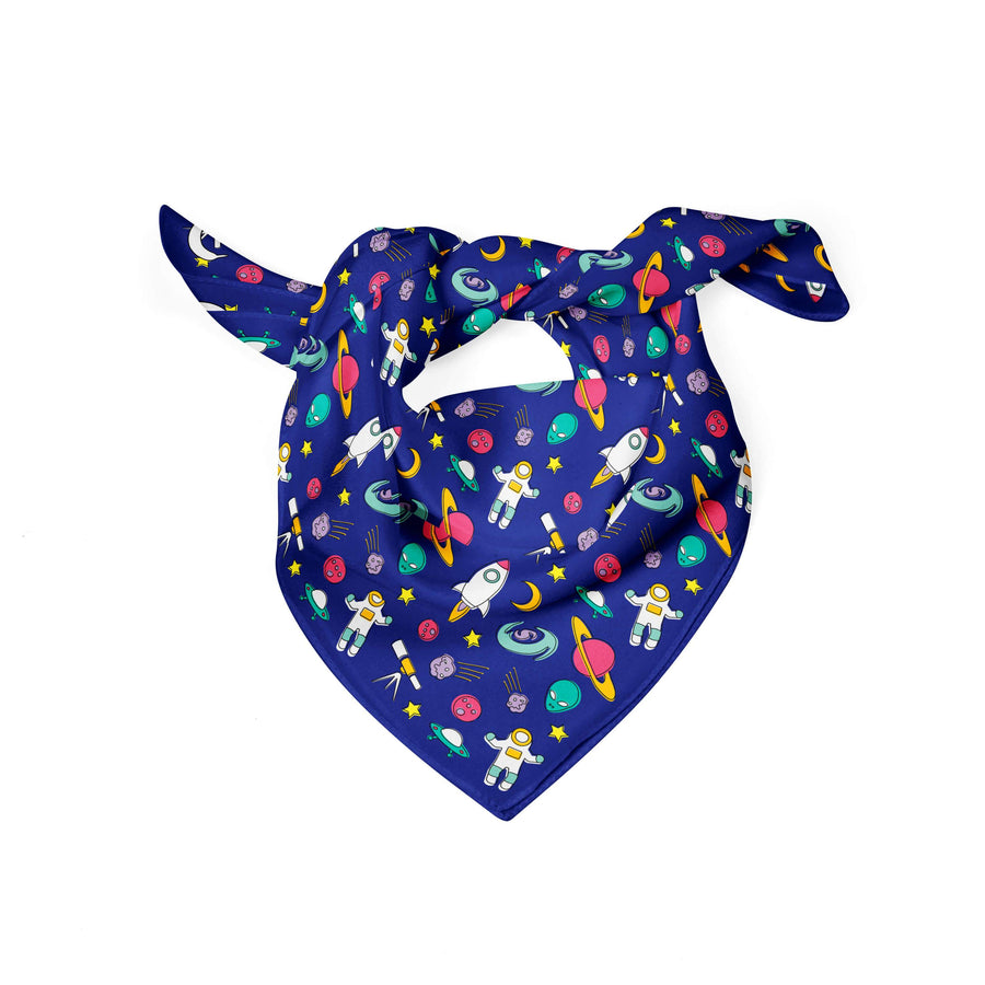 Banana Bandanas Space Explorer dog bandana space illustration blue flat photo