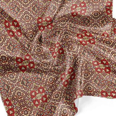 Banana Bandanas Totally Tapestry overripe bandana geometric rug cardog red spread detail photo
