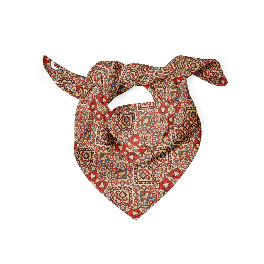 Banana Bandanas Totally Tapestry dog bandana geometric rug carpet red spread flat photo