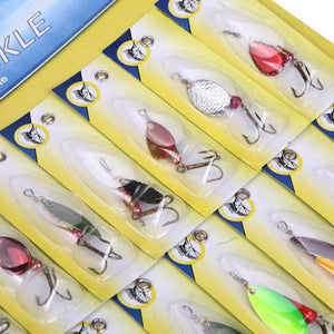 Mixed Colors Spinner Fishing Lures - Set of 30