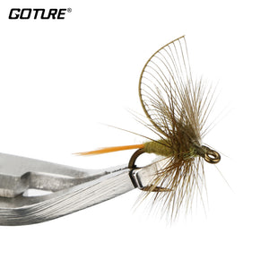 Goture 4pcs/lot Hand Made Fly Fishing Flies 12# 1.3cm Fishing Hook Dry Fly Lures For Carp Bass Salmon Bait Artificial