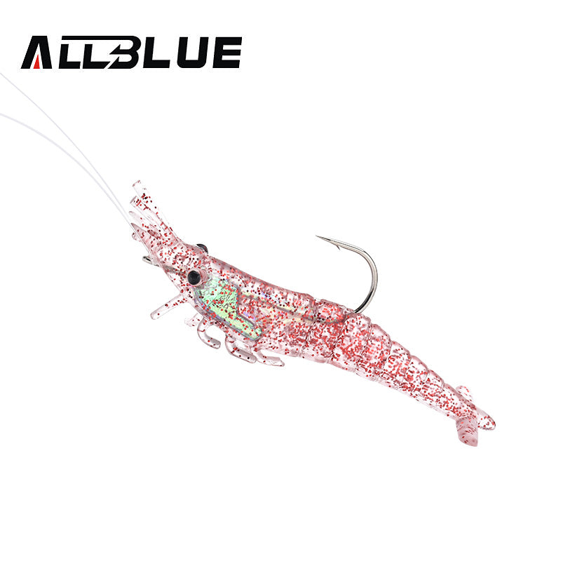ALLBLUE Soft Shrimp Lures With Hooks - 4pcs/lot - 3 Colors
