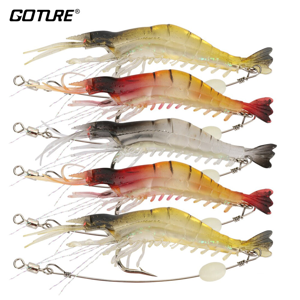 Goture Set of 5 Silicone Shrimp Bait with Luminous Bead 9.5 cm 5.7 g