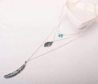 """Free Spirit"" Turquoise Leaf Multi Layer Necklace ChakrasActivated Silver"