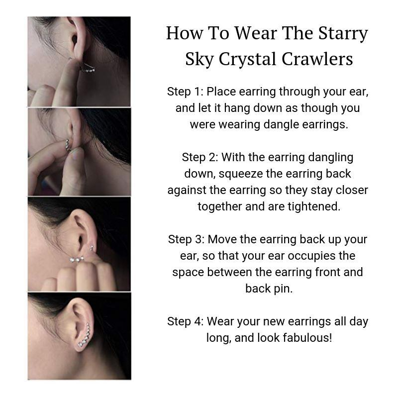 Starry Sky Crystal Crawler Earrings ChakrasActivated
