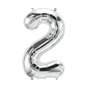 34in Number 2 Silver Balloon