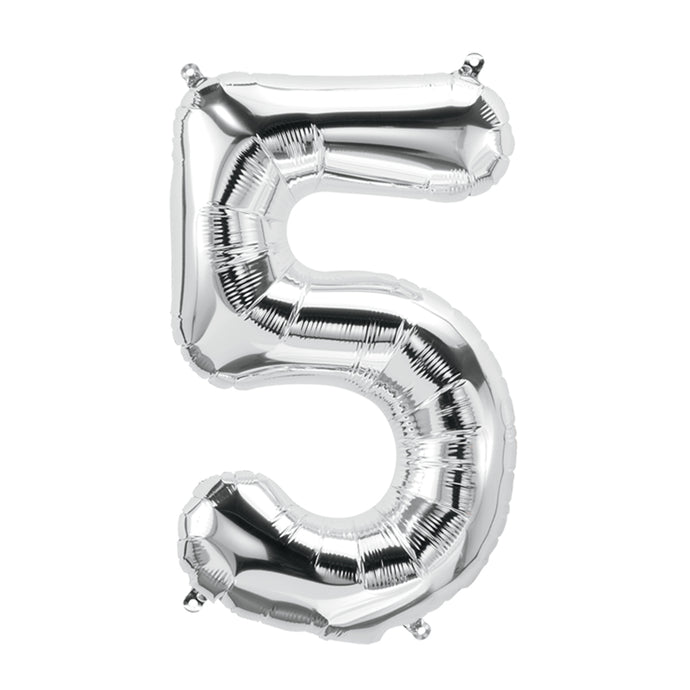 34in Number 5 Silver Balloon