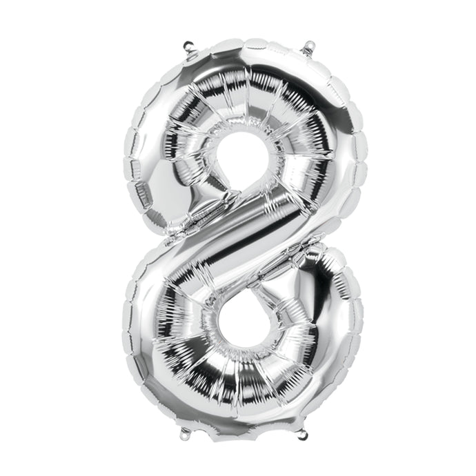 34in Number 8 Silver Balloon