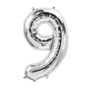 34in Number 9 Silver Balloon