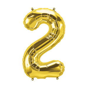 34in Number 2 Gold Balloon