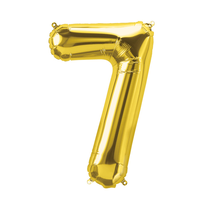 34in Number 7 Gold Balloon
