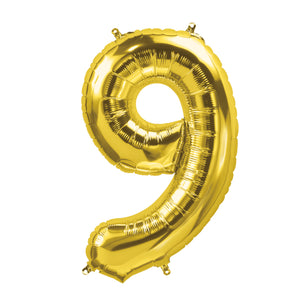 34in Number 9 Gold Balloon