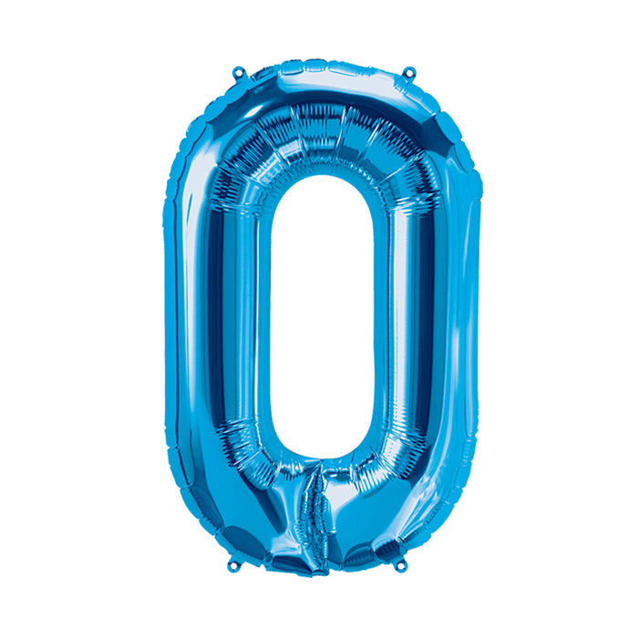 34in Number 0 Blue Balloon