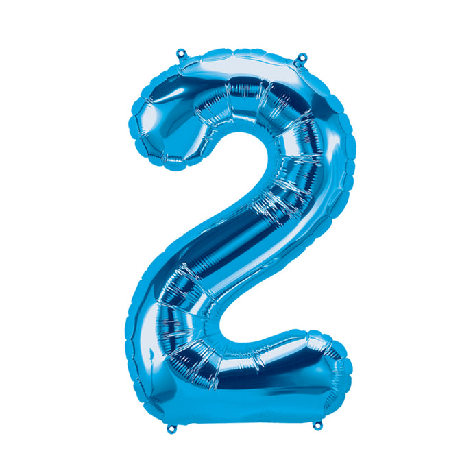 34in Number 2 Blue Balloon