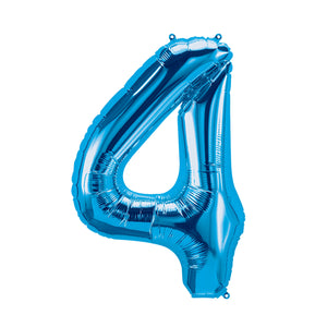 34in Number 4 Blue Balloon