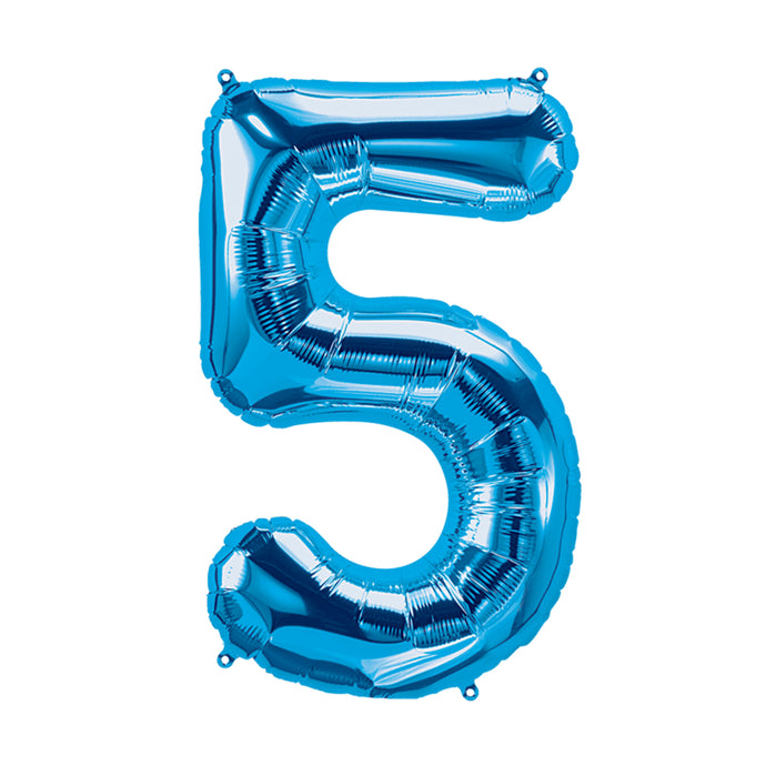 34in Number 5 Blue Balloon