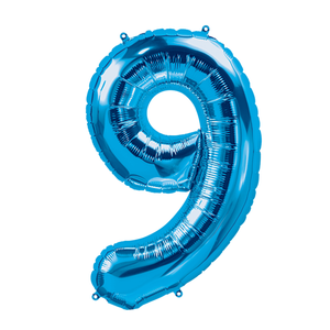 34in Number 9 Blue Balloon
