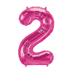34in Number 2 Magenta Balloon
