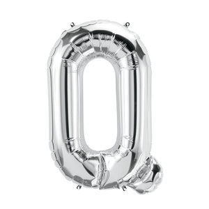 34in Letter Q Silver Balloon