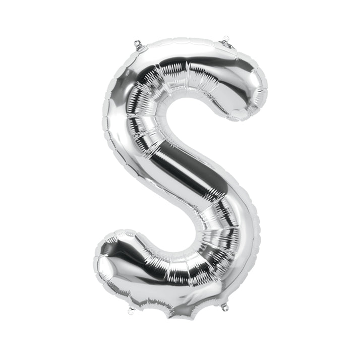 34in Letter S Silver Balloon