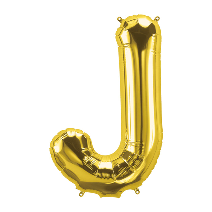 34in Letter J Gold Balloon